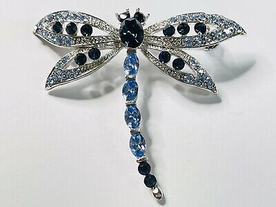 £2 • Buy Silver Tone Metal Dragonfly Brooch With Blue Stones