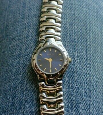 $ CDN63.95 • Buy Vintage Women's Guess Watch Blue Dial Gold & Silver Toned Band - New Battery