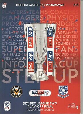 £2.49 • Buy 2019  LEAGUE TWO PLAY OFF FINAL  -  NEWPORT COUNTY V TRANMERE ROVERS