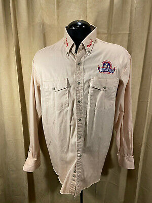 $19.50 • Buy Mens Wrangler Western Shirt XL Beige Embroidered L/S Cot Rodeo Greeley Stampede