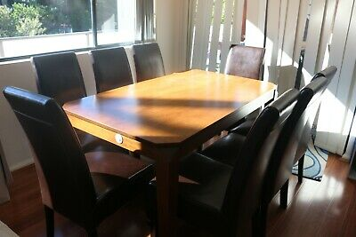AU150 • Buy Timber Dining Table With 8 Timber Leather Chairs