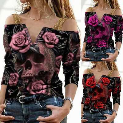 £9.39 • Buy Women Rose Skull Printed Tops Cold Shoulder T-Shirt Gothic Punk Party Blouse