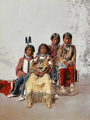 £3.99 • Buy Native American Ute Indian Portrait Group Of Children Photo Art Print Picture