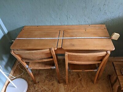 £40 • Buy Vintage Double School Desk And Two Chairs