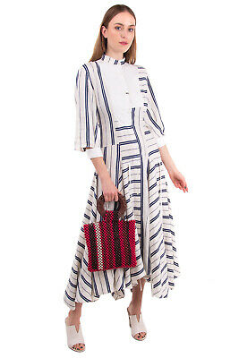 AU13.84 • Buy RRP €1940 LOEWE Maxi Flared Dress Size 36 / S Linen Blend Striped Made In France