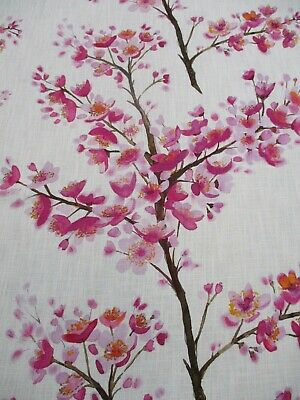 £49.99 • Buy BLUEBELLGRAY CURTAIN FABRIC 'MIKI' 1.5 METRES (150cm) Pink Cherry Blossom Linen