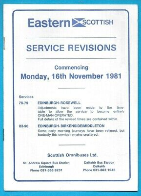 £1.04 • Buy Eastern Scottish Service Revisions To 78 79 83 - 90  16.11.1981