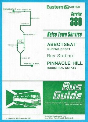 £1.04 • Buy Eastern Scottish 380 Kelso Town Service Timetable Sept 1981