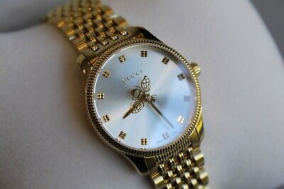 AU719.49 • Buy Watch Gucci G-Timeless YA1265021 29 Mm Gold Ip Steel Silver Dial Bee Ladies New