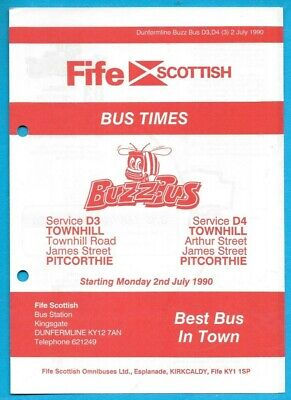 £0.99 • Buy Fife Scottish D3 D4 Townhill - Pitcorthie Timetable 2.7.1990