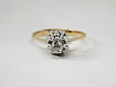 £300 • Buy EXQUISITE ANTIQUE 18CT GOLD OLD CUT DIAMOND SOLITAIRE RING. Size N.
