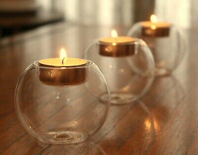 £6.99 • Buy 3x Clear Glass Round Bauble Orb Tea Light Candle Holders