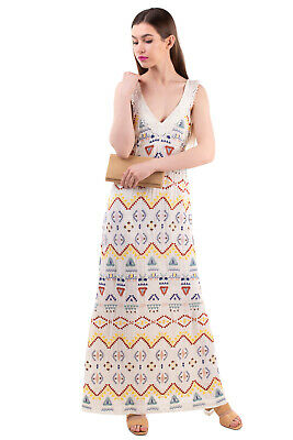 AU92.22 • Buy RRP€550 VANESSA BRUNO Maxi A-Line Dress Size 38 S Fully Lined Embroidered V Neck