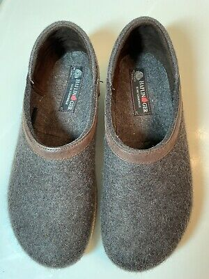 £36.15 • Buy Haflinger Size 41 Brown Wool Leather Trim Slippers Shoes Unisex W9.5 Men 8