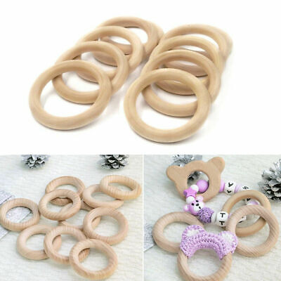£3.59 • Buy 10Pcs Natural Wooden Baby Teething Rings Teethers For Necklace Bracelets Crafts