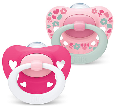 £6.50 • Buy NUK Signature Baby Dummy 6-18 Months BPA-Free Silicone Soothers Pink Heart