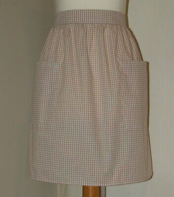 £7.50 • Buy New 'Toffee 3mm Gingham ' Vintage Style Half / Waist Apron/Pinny