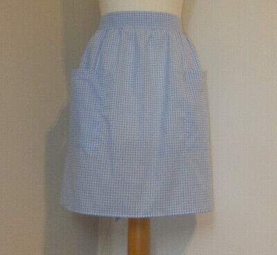 £7.50 • Buy New 'Pale Blue 3mm Gingham ' Vintage Style Half / Waist Apron/Pinny