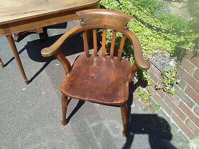 £30 • Buy Antique Oak Goodearl And Sons Smokers Bow Open Arm Chair Captains Chair