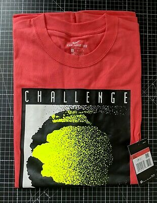 £54.99 • Buy Bnwt Nike Challenge Court Tee Coral Lemon Official Reissue L Andre Agassi
