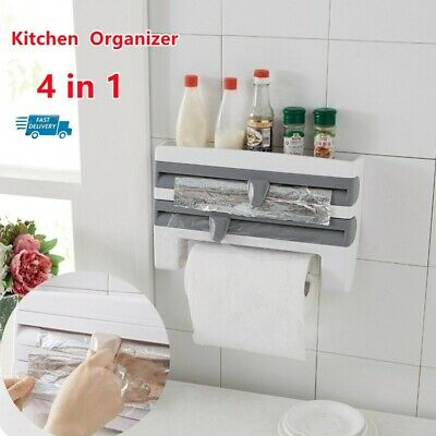 £13.99 • Buy Cling Film And Kitchen Foil Dispenser Paper Towel Roll Holder Wall Mounted Rack