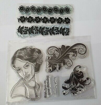 £3.99 • Buy Mixed Clear Stamp Set - Floral Borders, Lady, Flourishes, Sentiments
