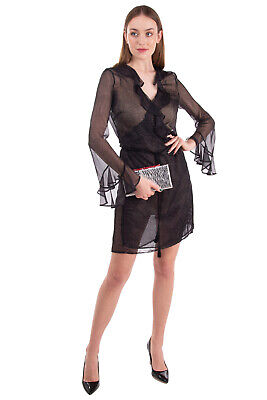 AU20.23 • Buy ..,MERCI Wrap Dress Size IT 46 / L See Through Ruffle Tassels Made In Italy