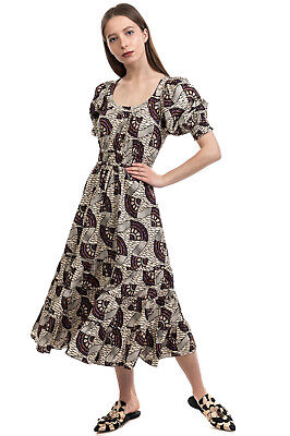 $53.84 • Buy RRP €585 ULLA JOHNSON Tiered Dress Size 6 / M Patterned Gathered Puff Sleeve