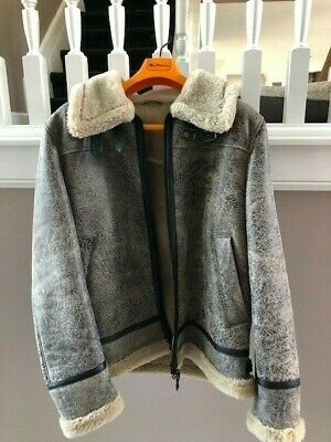 $299.99 • Buy Men's Gimo's For Axel's Shearling Aviator Bomber Coat - Brown Size 54 USA Large