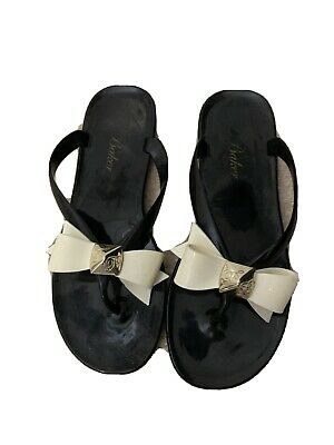 £3.50 • Buy Ted Baker Flip Flops Flat Sandals Black With Cream Bow Size 5