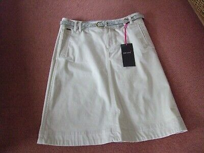 £4.50 • Buy Per Una (M&S) Stone Chino Style Skirt With Belt Size 12 BNWT
