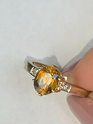 £125.75 • Buy 9ct Gold Mexican Fire Opal & Diamond Ring