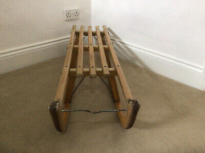 £15 • Buy Wooden Sledge - Metal Runners - Vintage Criterion Davos - Collectible