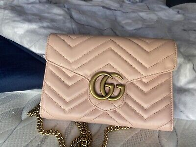 AU1300 • Buy Gucci Gg Marmont Matelasse Chain Wallet Pink