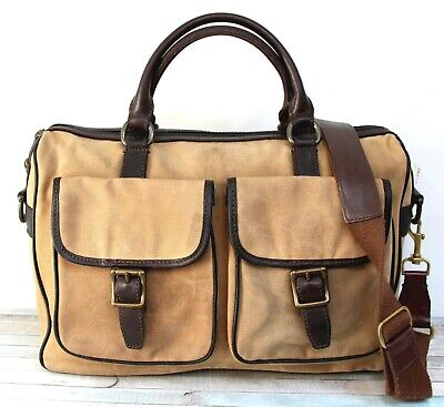 $44.99 • Buy Fossil WAXED BEIGE CANVAS BROWN LEATHER CROSSBODY SHOULDER BAG LAPTOP BRIEFCASE