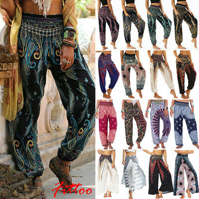 AU25.88 • Buy Women Boho Floral Gypsy Yoga Harem Trousers Hippie Casual Baggy Pants Loose Wide