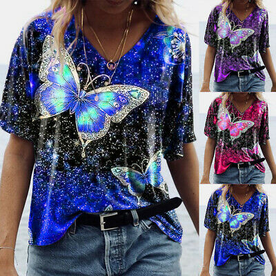 £7.19 • Buy Plus Size Womens Butterfly Print V-neck Tops Short Sleeve T-shirt Ladies Blouse