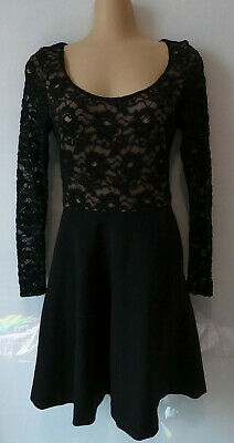 AU16 • Buy FOREVER NEW Black Lace Top Long Sleeve Round Neck Flare Dress. Size 8