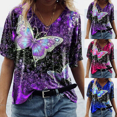 £8.09 • Buy Women V Neck Butterfly Printed T-Shirt Tops Short Sleeve Loose Casual Blouse Tee