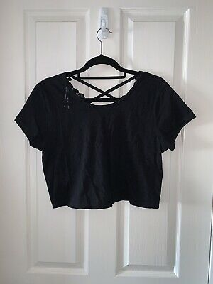 £2 • Buy Black Crop Top With Detail Cut Out Primark Size 14