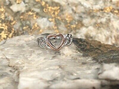 £59 • Buy Official Welsh Clogau Silver & Rose Gold Welsh Royalty Ring £40 Off! SIZE P