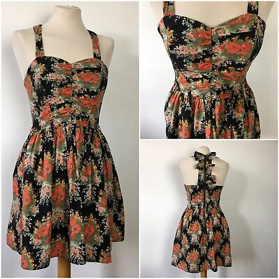 £9.99 • Buy River Island Floral 50s Style Sweetheart Neckline Full Circle Dress Size 10
