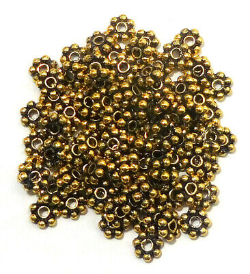 $ CDN4.99 • Buy 30 Pcs 8mm Bali Flower Daisy Spacer Beads Antique Gold Plated  Abn-757