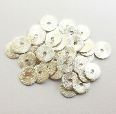 $ CDN4.99 • Buy 80 Pcs 8mm Brushed Flat Disc Sterling Silver Plated  Abn-788