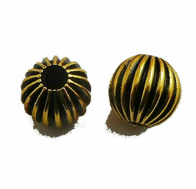 $ CDN4.99 • Buy 30 Pcs 8mm Corrugated Bead Oxidized 18k Gold Plated  540 Abn-308