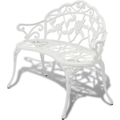 £159.99 • Buy Solid White Seat Cast Aluminum Outdoor Garden Chair Park Furniture 2seater 100cm