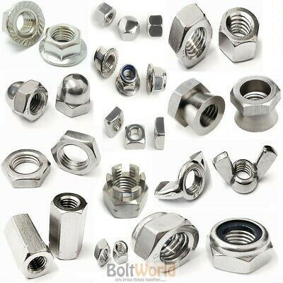 £4.10 • Buy A2 Stainless Steel Full, Wing, Dome, Flange Nyloc, Shear Nuts Stud Hex Connector