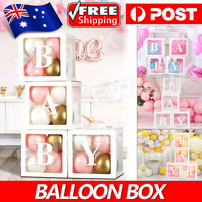 AU19.95 • Buy 4Pcs/Set Balloon BABY Box Cube Clear Boxes Birthday Baby Shower Party Gift AU