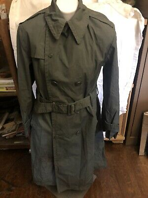$15 • Buy VINTAGE US ARMY MILITARY MAN'S RAINCOAT, COTTON AND POLYESTER, SIZE 38 Mens