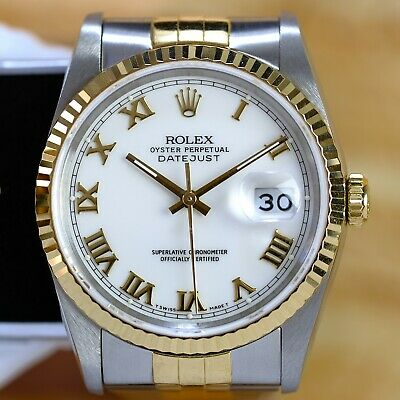 $ CDN9749.79 • Buy Rolex Mens Datejust 16233 Factory White Roman Dial 36mm Watch W/ Papers